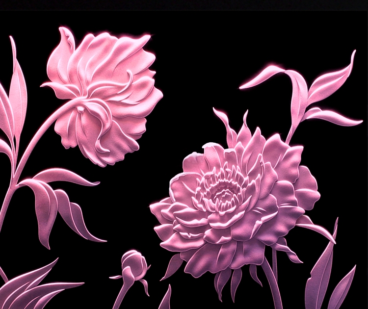 Carved Glass Art Peonies