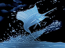 Carved Glass Sailfish
