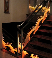 Illuminated Carved Glass Railing