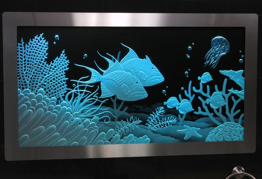 Illuminated Carved Glass Triggerfish