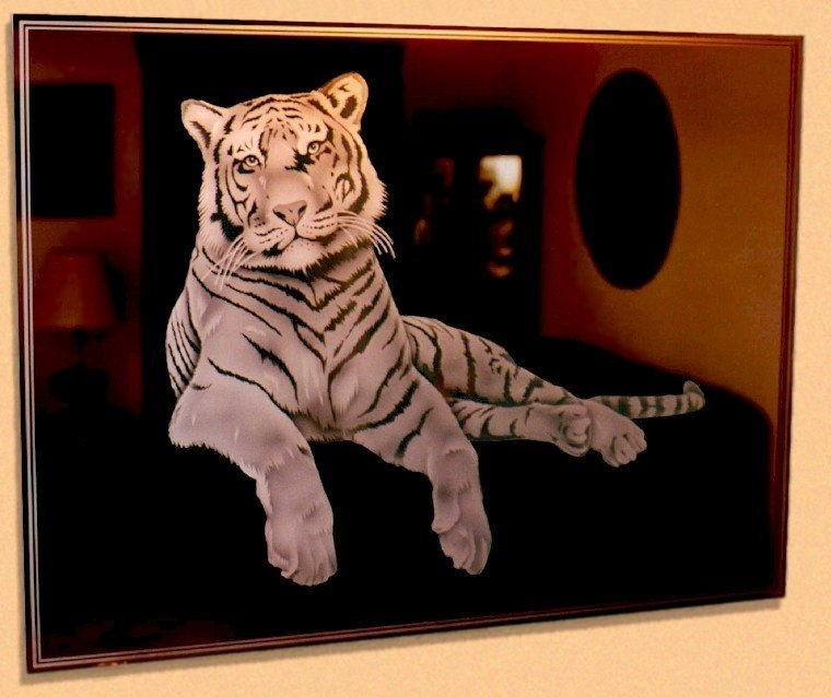 Etched Glass Mirror Shaded Tiger
